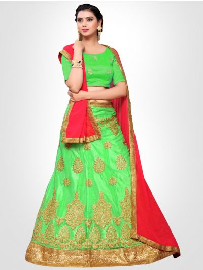 Women's Embroidered Semi-Stitched Lehenga Choli & Unstitched Blouse with Dupatta - FLC3152D