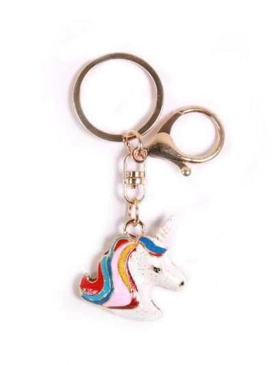 Unicorn Fly Horse Key Chain With Multi Color and Gold Metal Ring - KCC31