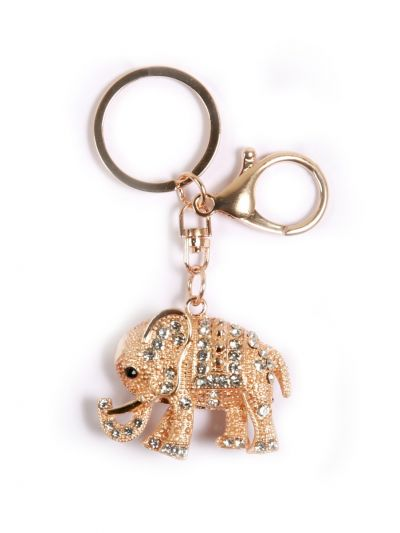 Crystal Elephant Key Chain With Crystal Stone and Gold Metal Ring  - KCC32
