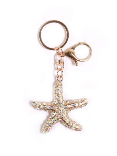 Star Fish Key Chain With Crystal Stone and Gold Metal Ring - KCC35
