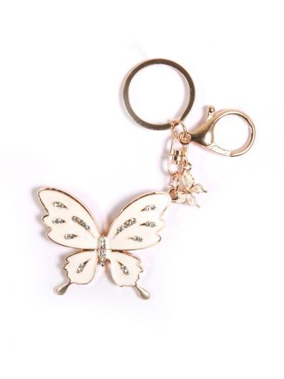 White ButterFly  Stone Key Chain With White Color Crystal Stone and Gold Metal Ring - KCC37