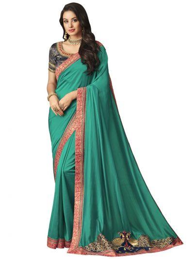 Elegance Party wear saree Green - EPS3801