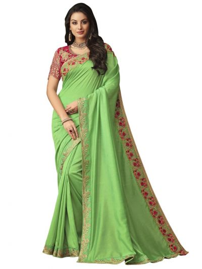Elegance Party wear saree Green - EPS3806