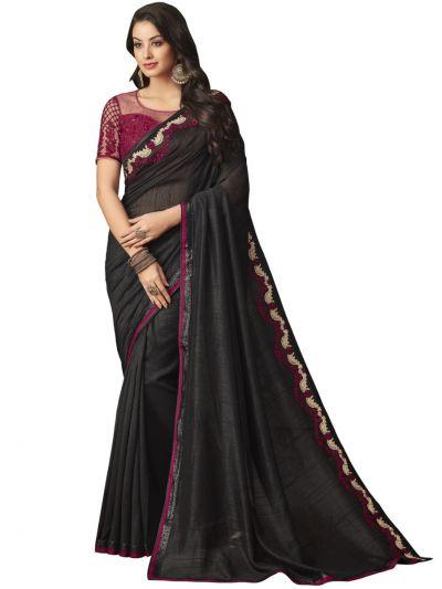 Elegance Party wear saree Black with magenta - EPS3812