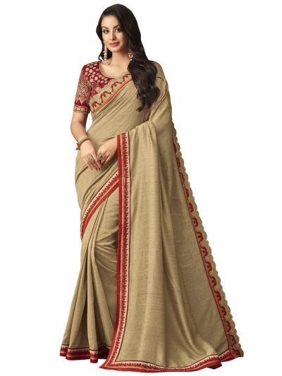 Elegance Party wear saree Tan - EPS3813