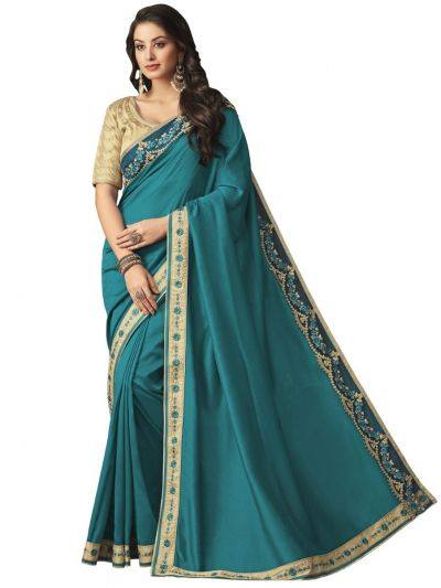Elegance Party wear saree Turquoise - EPS3815