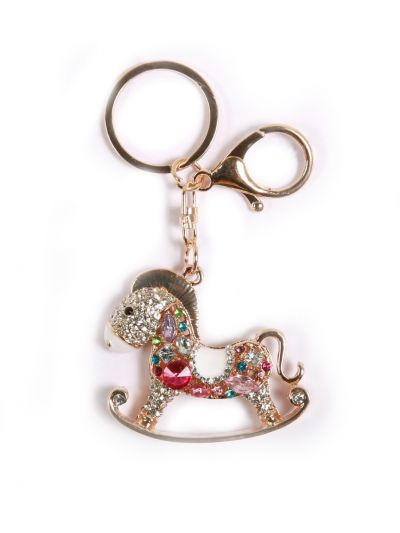 Seesaw Horse Key Chain With Multi Color Stone and Gold Metal Ring - KCC39