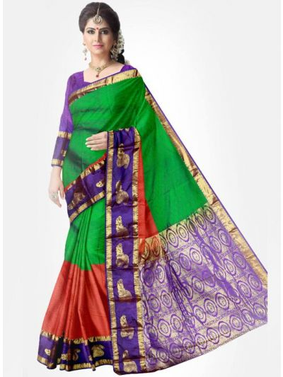 Gift Silk Saree - Green with Pink-UTSS402