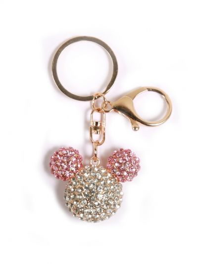 Mickey Mouse Key Chain With Multicolor Crystal Stone and Gold Metal Ring - KCC040