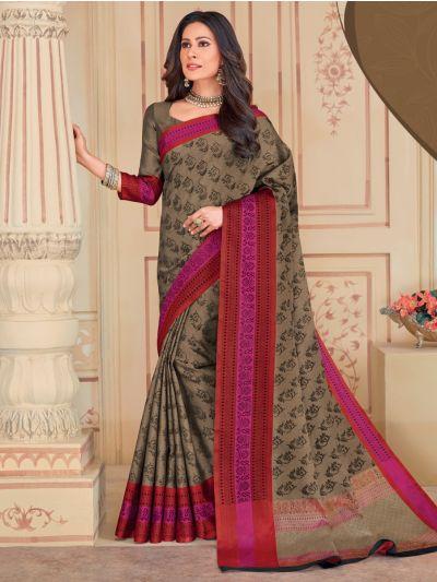 Kathana Fancy Embossed Raw Silk Saree