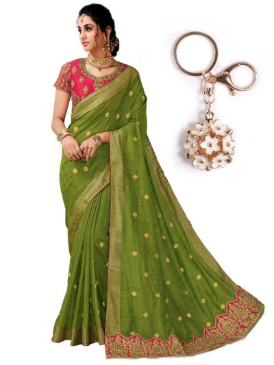 Zoya Silk Saree With Imported Fancy Keychain - PWS4111K34