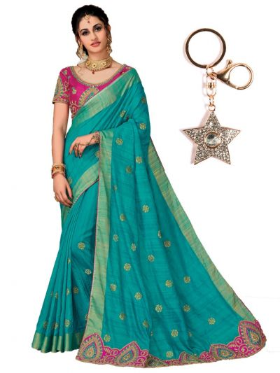 Zoya Silk Saree With Imported Fancy Keychain - PWS4113K27