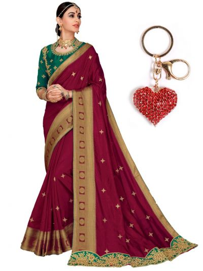 Zoya Silk Saree With Imported Fancy Keychain - PWS4114K16