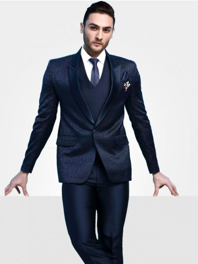 Men's Imported Designer Blue Suit - DS41311