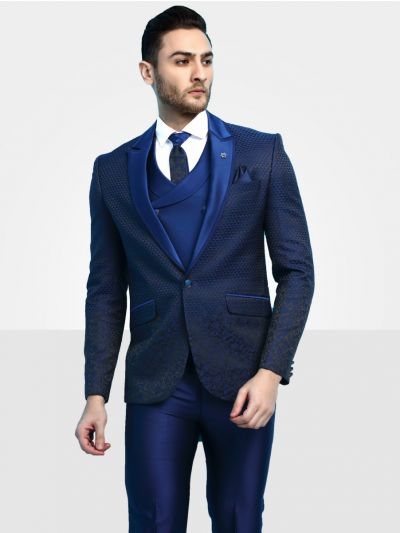 Men's Imported Designer Blue Suit - DS41383