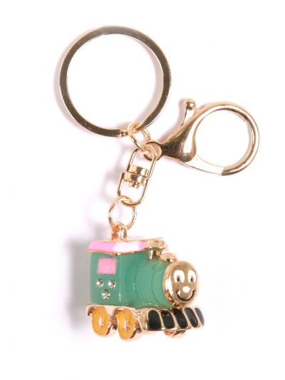 Thomas and Friends Green  Loco KeyChain With Peal Green  Color and  Gold metal Ring - KCC41
