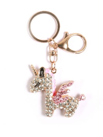 Unicorn Fly Horse Key Chain with Pink Color Stone and Gold Metal Ring - KCC042