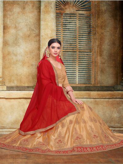 Women's Embroidered Dull Satin Lehenga Choli