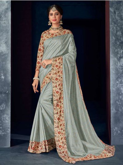 Kathana Fancy Raw Silk Embroidery Saree-KRFS4505