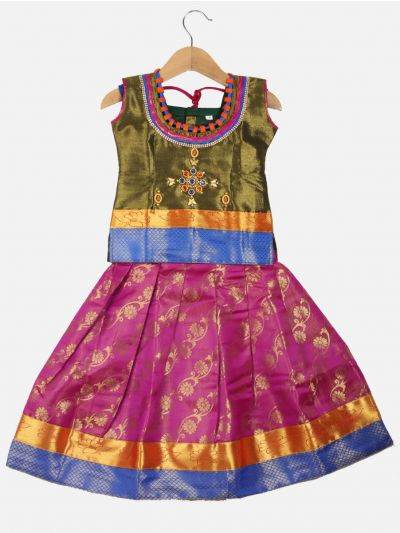 Girls Ready Made Art Silk Pavadai Set - GPP5001
