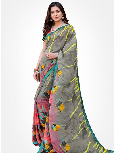 Yuvathi Georgette Saree-Multicolor-YGS5001