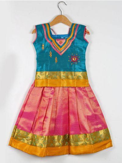 Girls Ready Made Art Silk Pavadai Set - GPP5002