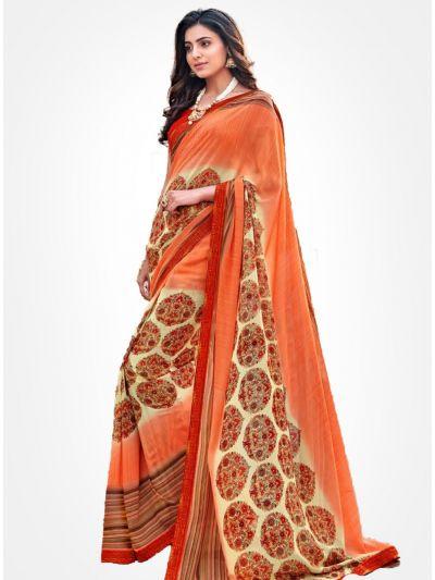 Yuvathi Georgette Saree-Pumpkin Orange-YGS5002
