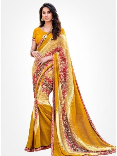 Yuvathi Georgette Saree-Multicolor-YGS5003