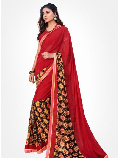 Yuvathi Georgette Saree-Crimson Red-YGS5004