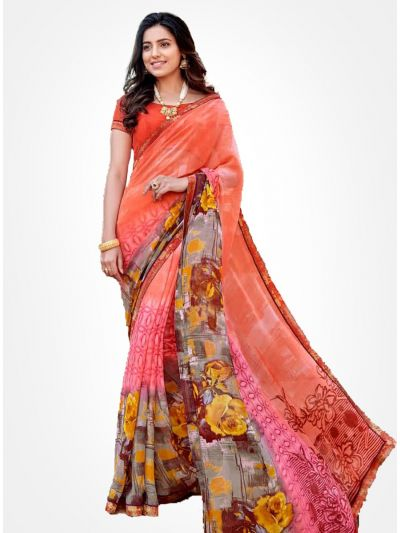 Yuvathi Georgette Saree-Multicolor-YGS5005