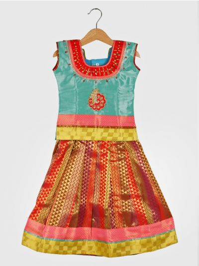 Girls Ready Made Art Silk Pavadai Set - GPP5009