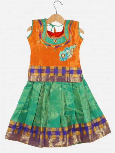 Girls Ready Made Art Silk Pavadai Set - GPP5010