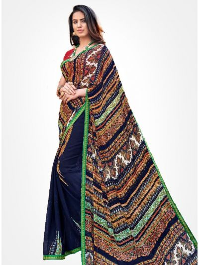 Yuvathi Georgette Saree-Multicolor-YGS5012