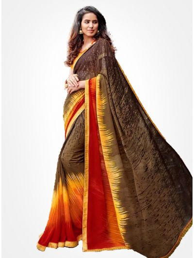 Yuvathi Georgette Saree-Multicolor-YGS5015