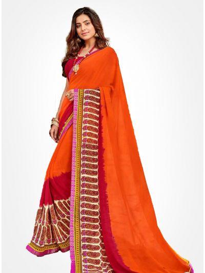 Yuvathi Georgette Saree-Red Orange-YGS5018