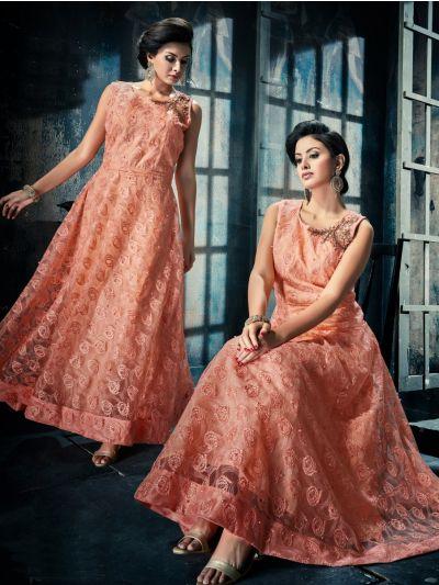 Kyathi Women's Netted Handwork Readymade Salwar Kameez - JACQ5054