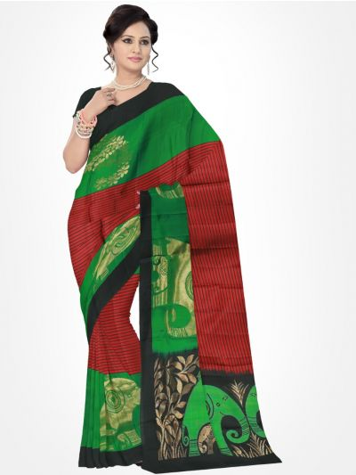 Black with Red Pure Soft Silk Saree