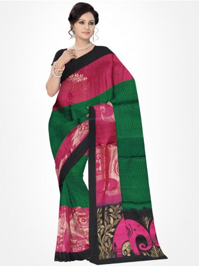 Black with Violet Soft Silk Saree