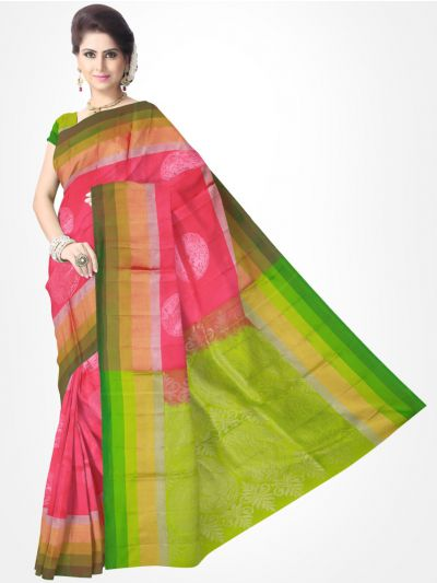 Pink with Green Soft Silk Saree