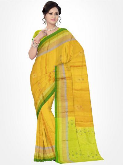 Yellow with Green Soft Silk Saree