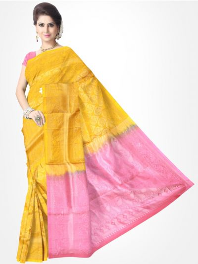 Yellow with Pink Pure Soft Silk Saree