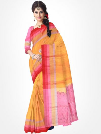 Orange with Pink Pure Soft Silk Saree