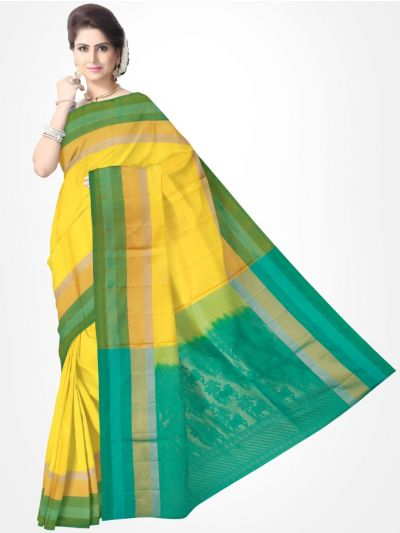 Yellow with Green Soft Silk Saree