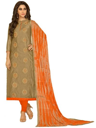 Ganga Cotton Dress Material - Sandlewood- GCDM6001