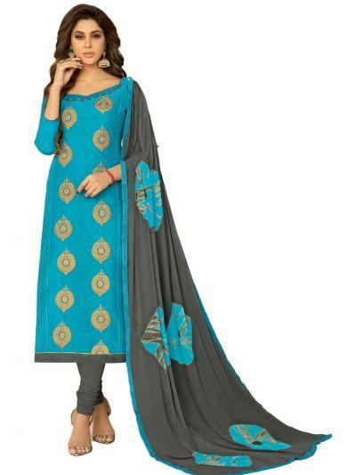 Ganga Cotton Dress Material - SkyBlue - GCDM6004
