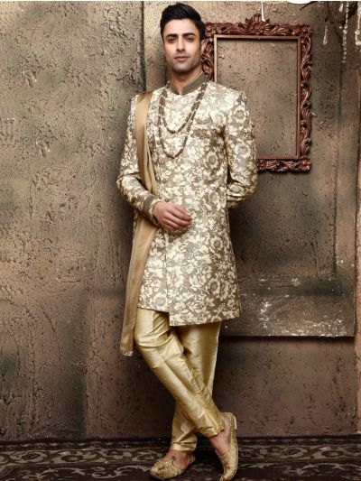 Golden Heavy Jaquard Self Print Design Indo Western Suit - IWS61852