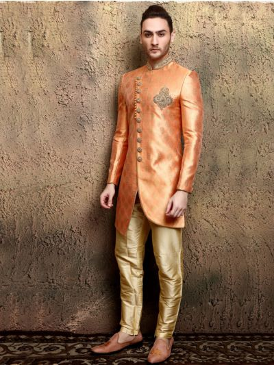 Orange Heavy Jaquard Indo Western Sherwani with Pant Suit - IWS62051
