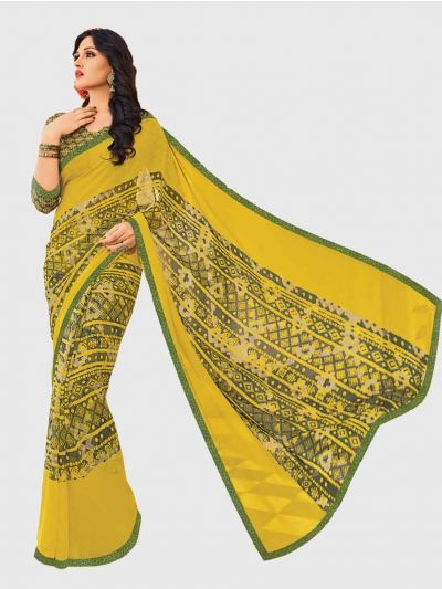 Marble Chiffon Fancy Saree-Mustard-CFS6206
