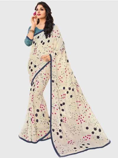 Marble Chiffon Fancy Saree-Cream-CFS6207