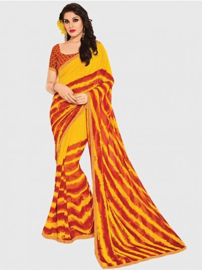 Marble Chiffon Fancy Saree-Mustard with Red-CFS6212